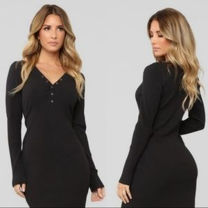 Wild Fable Ribbed Henley Dress